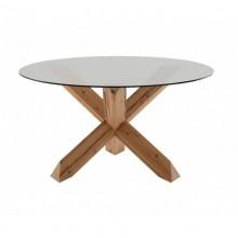 Tavolo incastro in legno e cristallo