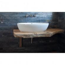 Piano lavabo in rovere antico con corteccia