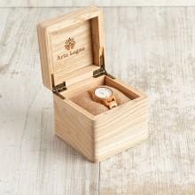 Orologio da polso, cinturino 12 mm, cassa in legno di ulivo 30mm