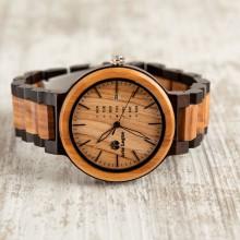 Orologio da polso, Cinturino da 22mm, cassa in legno di ulivo e ebano 44 mm