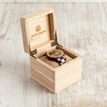 Orologio da polso, cinturino da 21 a 24 mm, cassa in legno di ebano e ulivo 45mm