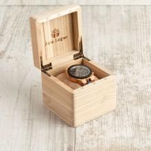 Orologio da polso, Cinturino regolabile da 22 a 24 mm, cassa legno ebano e ulivo 45mm