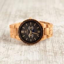 Orologio da polso, cinturino regolabile da 22 a 25 mm, cassa in legno di ulivo e legno sandalo 45mm