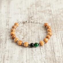 Bracciale in legno di ulivo + pietra occhio di tigre verde smeraldo
