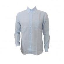 Camicia 100% Lino Manica Lunga Unisex Colore Azzurro Taglia 38